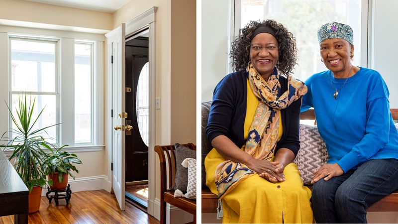 Fall 2021, Dorchester reveal, entry room, homeowner Carol and sister Willie Wideman