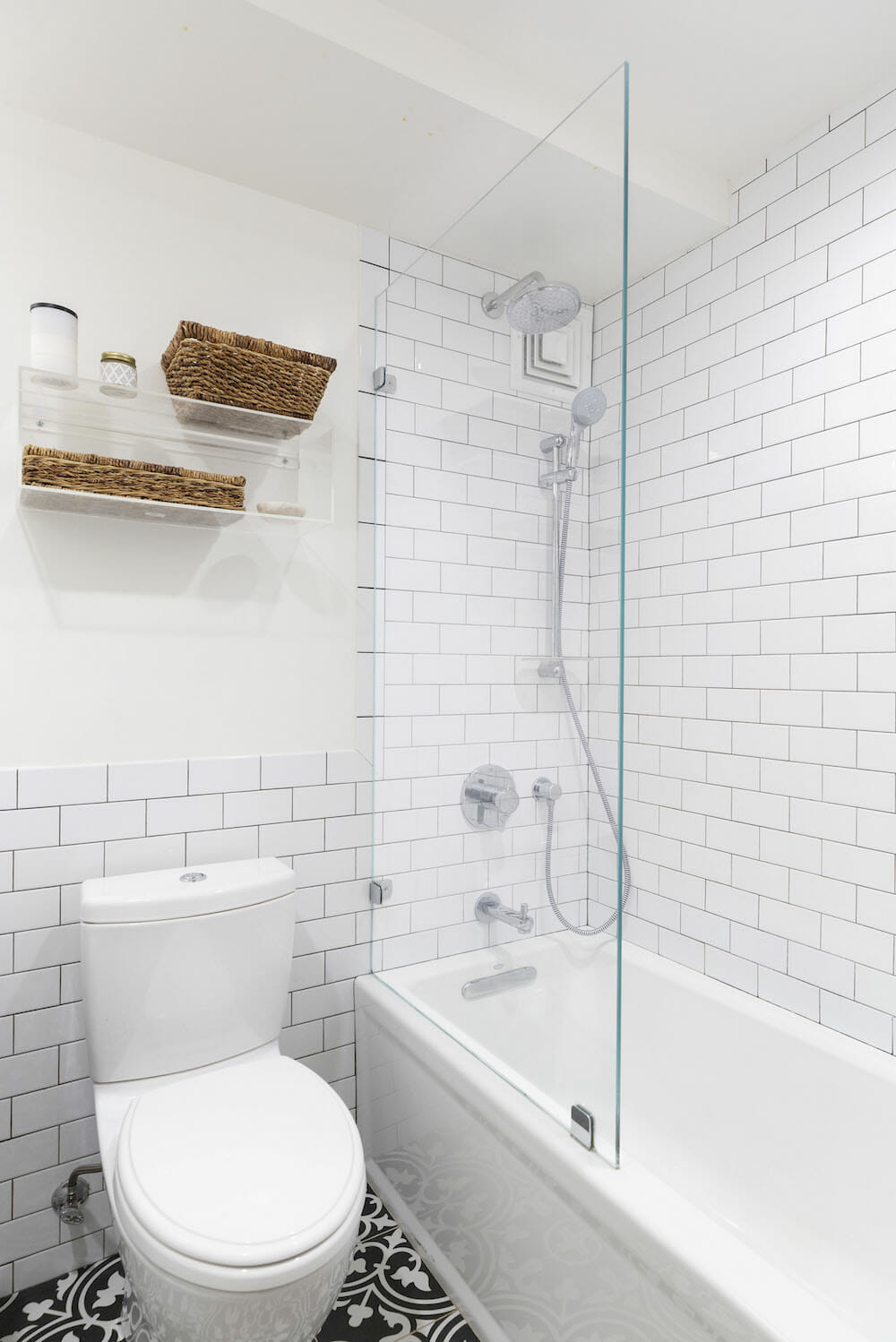 Image of a Clinton Hill bathroom with white subway tile and bathtub